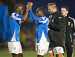 St Johnstone v Celtic.....19.02.13      SPL.Nigel Haselbaink celebrates with Gregory Tade.Picture by Graeme Hart..Copyright Perthshire Picture Agency.Tel: 01738 623350  Mobile: 07990 594431