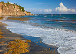 Vieques, Puerto Rico: Black sand beach (Playa Negra) with high cliffs on the southwest side of Vieques