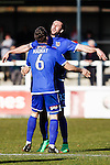 Ollie Palmer of Grimsby Town (right) celebrates scoring the opening goal against Woking with Carl Magnay of Grimsby Town (left) during the Vanamara Conference League match at the Kingfield Stadium, Woking, Surrey<br /> Picture by David Horn/eXtreme aperture photography +44 7545 970036<br /> 07/03/2015