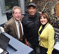 NEW YORK, NY - September 1 : John Sterling, Bernie Willams, Suzyn Waldman at Yankee Stadium in the Bronx,New York during Pulmonary Fibrosis Awareness Month in honor of his father who passed away from the rare lung disease idiopathic pulmonary fibrosis (IPF). September 1, 2017 in New York City.@Bill Menzel / Media Punch