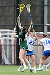 22 February 2015: William & Mary's Ellen Shaffrey (left) catches the ball under pressure from Duke's Maddie Crutchfield (23). The Duke University Blue Devils hosted the College of William & Mary Tribe on the West Turf Field at the Duke Athletic Field Complex in Durham, North Carolina in a 2015 NCAA Division I Women's Lacrosse match. Duke won the game 17-7.