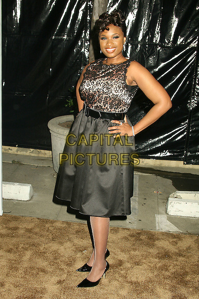 "JENNIFER HUDSON.2nd Annual ""A Fine Romance"" Benfit for the Motion Picture & Television Fund at Sunset Gower Studios, Hollywood, California, USA,.18 November 2006..full length black lace dress black belt skirt top hand on hip.CAP/ADM/BP.©Byron Purvis/AdMedia/Capital Pictures."