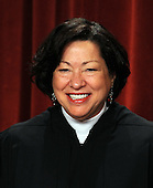 Associate Justice Sonia Sotomayor and the Supreme Court Justices of the United States sit for a formal group photo in the East Conference Room of the Supreme Court in Washington on Friday, October 8, 2010.    .Credit: Roger L. Wollenberg - Pool via CNP