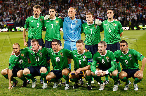 03.09.2010 Team of Northern Ireland before football match of first round of UEFA European championships qualifications between Slovenia and Northern Ireland. Match between Slovenia and Northern Ireland was played on Friday, 3rd of September 2010 in Ljudski Vrt arena in Maribor, Slovenia..