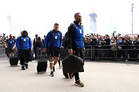Jamie Roberts and the rest of the Bath Rugby team arrive at Twickenham Stadium. Gallagher Premiership match, The Clash, between Bath Rugby and Bristol Rugby on April 6, 2019 at Twickenham Stadium in London, England. Photo by: Rogan Thomson / JMP for Onside Images