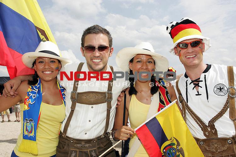 FIFA WM 2006 -  Fan Fest Nuernberg<br /> <br /> Volksfestplatz (ca. 25 000 Zuschauer)<br /> <br /> <br /> <br /> Deutschland - Ecuador<br /> <br /> <br /> <br /> Denise Galiano 23, Florian Hatib 22, Michelle Galiano 21 und Timo Vitzthum 25 aus Bayern und Ecuador.<br /> <br /> <br /> <br /> Foto: nordphoto