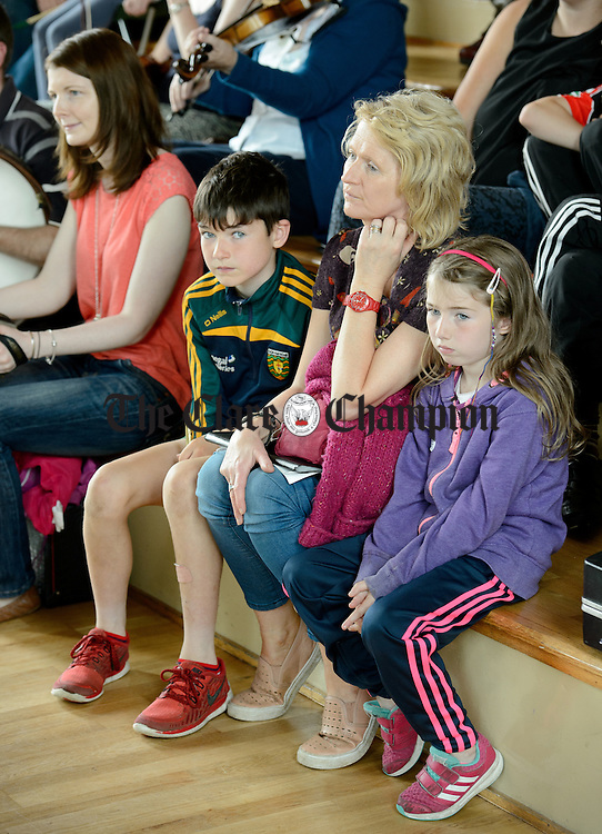 Attending the Frank Custy session in progress on Thursday at the Holy Family National School during Fleadh Cheoil na hEireann in Ennis. Photograph by John Kelly.