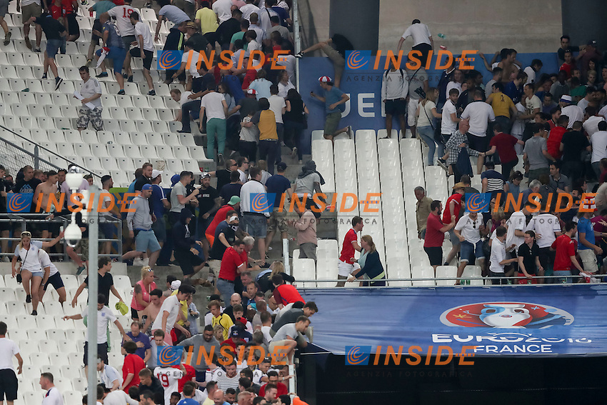 Clashes between Russian and England supporters on the stands at the end of the match <br /> Incidenti sugli spalti <br /> Marseille 11-06-2016 Stade Velodrome football Euro2016 England - Russia  / Inghilterra - Russia Group Stage Group B. Foto Daniel Chesterton PHCIMAGES / PANORAMIC / Insidefoto