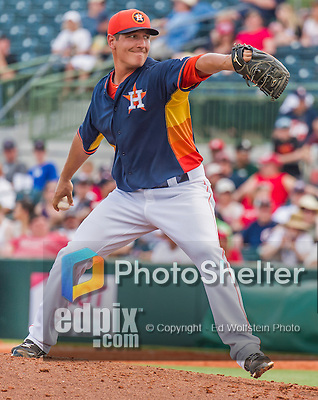20 March 2015: Houston Astros pitcher Asher Wojciechowski on the mound during Spring Training action against the Washington Nationals at Osceola County Stadium in Kissimmee, Florida. The Astros fell to the Nationals 7-5 in Grapefruit League play. Mandatory Credit: Ed Wolfstein Photo *** RAW (NEF) Image File Available ***