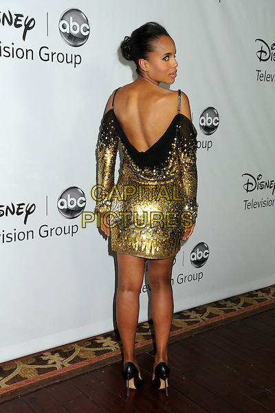 Kerry Washington.Disney ABC 2012 TCA Winter Press Tour held at the Langham Huntington Hotel, Pasadena, California, USA..January 10th, 2012.full length gold off the shoulder dress sequins sequined back behind rear looking over shoulder .CAP/ADM/BP.©Byron Purvis/AdMedia/Capital Pictures.