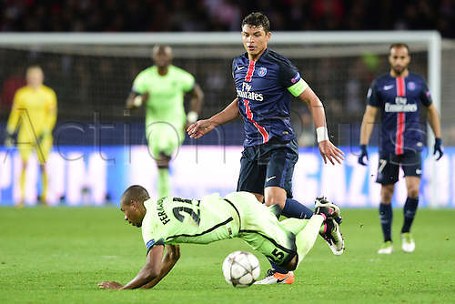 06.04.2016. Paris, France. UEFA CHampions League, quarter-final. Paris St Germain versus Manchester City.  Thiago Silva (PSG) and Fernandinho Luiz Roza (Manchester City)