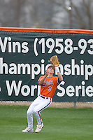Left fielder Jeff Schaus #3 of the Clemson Tigers settles under a fly ball at Doug Kingsmore stadium March 13, 2009 in Clemson, SC. (Photo by Brian Westerholt / Four Seam Images)