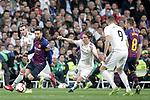 (L-R) Real Madrid CF's Gareth Bale, Luka Modric, Karim Benzema  and FC Barcelona's Leo Messi, Arthur Melo during La Liga match. March 02,2019. (ALTERPHOTOS/Alconada)