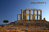 Tom Mackie, LANDSCAPES, LANDSCHAFTEN, PAISAJES, photos,+Temple of Poseidon, Sounio, Greece,ancient, column, columns, digital, EU, Europa, Europe, European, Greece, horizontal, horiz+ontally, horizontals, lone tree, ruin, ruins, single, tree, trees+++,GBTM060337-1,#l#, EVERYDAY