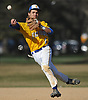 Andrew Russell #1, Kellenberg shortstop, throws to first base for an out in the top of the fourth inning of a Nassau-Suffolk CHSAA varsity baseball game against St. John the Baptist at Eisenhower Park on Tuesday, April 18, 2017. He had a single, a walk and scored twice in Kellenberg's 6-2 win.