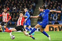 Billy Jones of Sunderland aND Daniel Drinkwater of Leicester City during the Premier League match between Leicester City v Sunderland played at King Power Stadium, Leicester on 4th April 2017.<br /> <br /> available via IPS Photo Agency/Rex Features  only