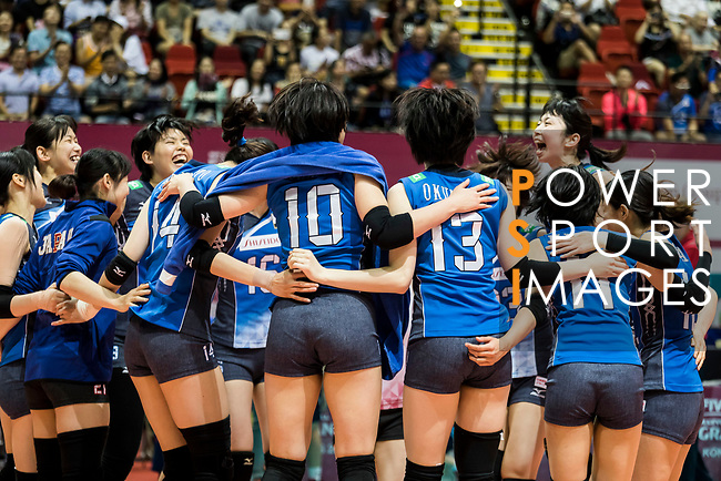 Players of Japan celebrate winning after the FIVB Volleyball World Grand Prix - Hong Kong 2017 match between Japan and Russia on 23 July 2017, in Hong Kong, China. Photo by Yu Chun Christopher Wong / Power Sport Images