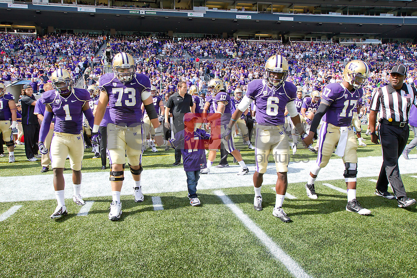 The University of Washington football team defeats Portland State 52-13 at Century Link Field in Seattle on Saturday September 15, 2012. (Photography By Scott Eklund/Red Box Pictures)