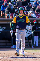 Beloit Snappers outfielder Austin Beck (22) steps to the plate during a Midwest League game against the Wisconsin Timber Rattlers on April 7, 2018 at Fox Cities Stadium in Appleton, Wisconsin. Beloit defeated Wisconsin 10-1. (Brad Krause/Four Seam Images)
