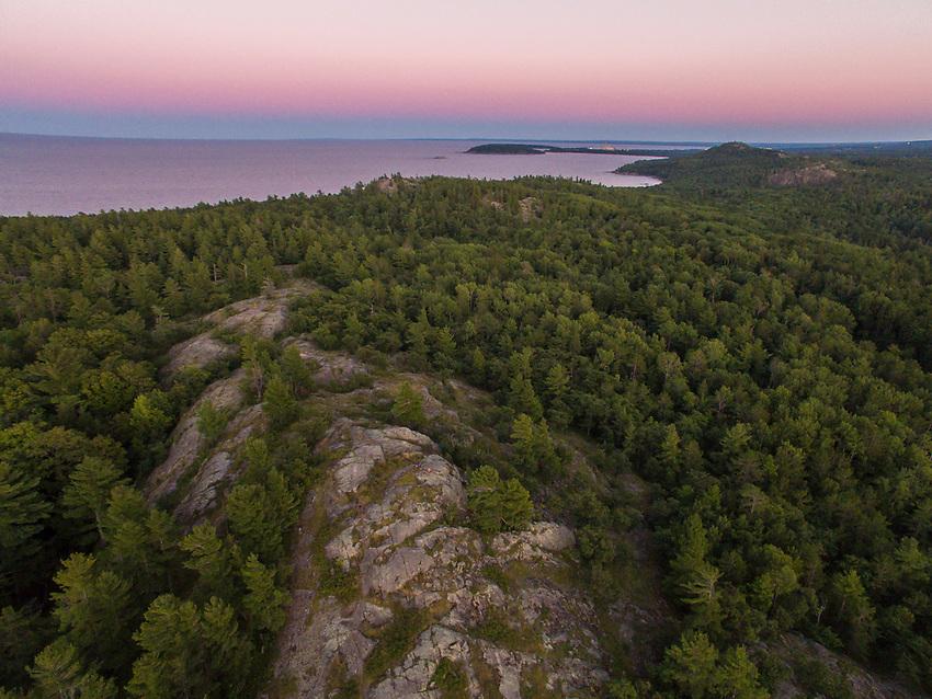 Aerial drone view of Bareback Ridge near Harlow Lake, Marquette, Michigan.