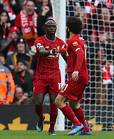 7th March 2020; Anfield, Liverpool, Merseyside, England; English Premier League Football, Liverpool versus AFC Bournemouth; Mohammed Salah of Liverpool celebrates with team mate Sadio Mane after scoring in the 25th minute