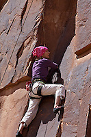 Lady, rock Climber, Sandstone, Canyonlands National Park, Moab Utah,