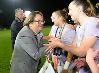 20190430 - OOSTAKKER , BELGIUM : Anderlecht's chairman Marc Coucke pictured with Justien Odeurs and Tine De Caigny (r) celebrating with the players and staff after winning the Superleague Championship after a womensoccer game between  AA Gent Ladies and RSC Anderlecht Dames  , during play-off 1 in the Belgian Women's Superleague, at the PGB Stadium in Oostakker , tuesday 30 th April 2019 . PHOTO SPORTPIX.BE | DAVID CATRY