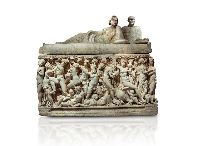 """Roman relief sculpted sarcophagus depicting a scene with Dionysus made in a Greek Attica workshop, 3rd century AD, Perge Inv 1.35.99. Antalya Archaeology Museum, Turkey.. Against a white background.<br /> The lid of the sarcophagus is sculpted into the form of a """"Kline"""" style Roman couch on which lie Julianus &  Philiska. This type of Sarcophagus is also known as a Sydemara Type of Tomb."""