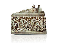 "Roman relief sculpted sarcophagus depicting a scene with Dionysus made in a Greek Attica workshop, 3rd century AD, Perge Inv 1.35.99. Antalya Archaeology Museum, Turkey.. Against a white background.<br /> The lid of the sarcophagus is sculpted into the form of a ""Kline"" style Roman couch on which lie Julianus &  Philiska. This type of Sarcophagus is also known as a Sydemara Type of Tomb."