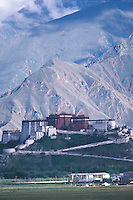 A distant view of the Potala Palace with snow-clad mountains behind it.