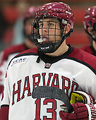 Greg Gozzo (Harvard - 13) - The Harvard University Crimson honored their seniors following their final home game of the regular season on Saturday, February 22, 2014 at the Bright-Landry Hockey Center in Cambridge, Massachusetts.