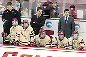 Kevin Pratt (BC - Student Manager), Austin Cangelosi (BC - 26), Johnny Gaudreau (BC - 13), Mike Ayers (BC - Assistant Coach), Kevin Hayes (BC - 12), Destry Straight (BC - 17), Marty McInnis (BC - Assistant Coach), Ryan Fitzgerald (BC - 19) - The visiting College of the Holy Cross Crusaders defeated the Boston College Eagles 5-4 on Friday, November 29, 2013, at Kelley Rink in Conte Forum in Chestnut Hill, Massachusetts.