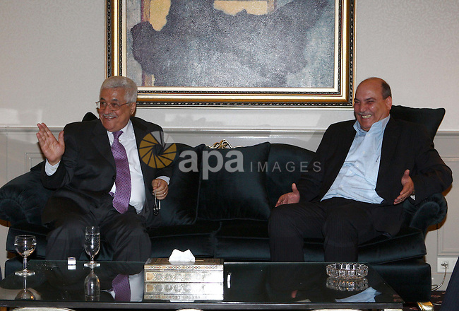 Palestinian President Mahmoud Abbas meets the chairman of the Political Bureau of the Popular Front movement, in The Syrian Capital of Damascus.