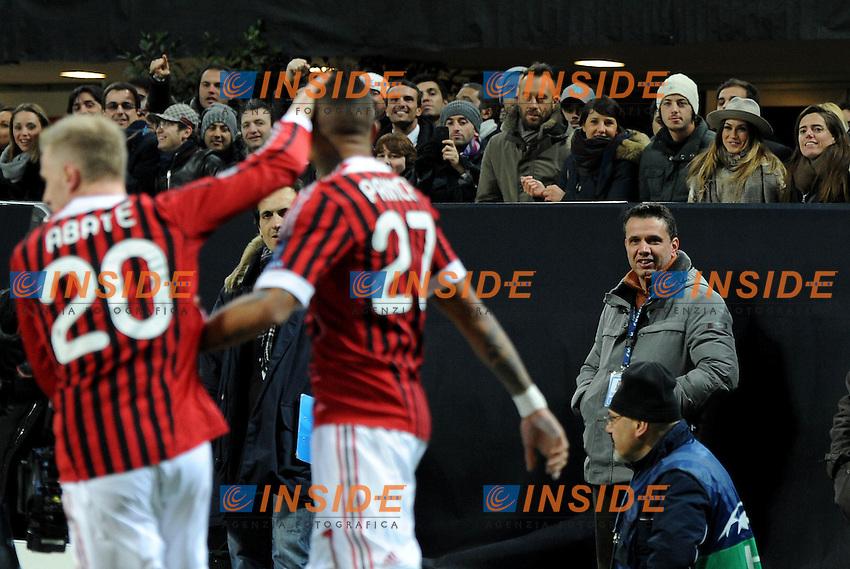 "Kevin Prince BOATENG e MELISSA SATTA (Milan).Milano 15/02/2012 Stadio ""Giuseppe Meazza"".Champions League 2011/2012.Football Calcio Milan Vs Arsenal.Foto Insidefoto Alessandro Sabattini."