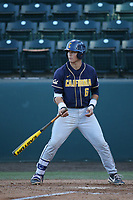 Tyrus Greene (6) of the California Bears bats against the UCLA Bruins at Jackie Robinson Stadium on March 25, 2017 in Los Angeles, California. UCLA defeated California, 9-4. (Larry Goren/Four Seam Images)
