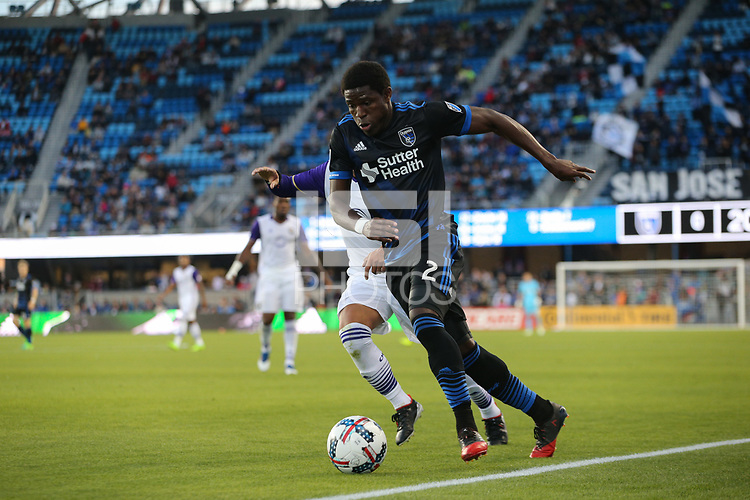 San Jose, CA - Wednesday May 17, 2017: Kofi Sarkodie during a Major League Soccer (MLS) match between the San Jose Earthquakes and Orlando City SC at Avaya Stadium.