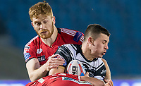 Picture by Allan McKenzie/SWpix.com - 16/03/2018 - Rugby League - Betfred Super League - Salford Red Devils v Hull FC - AJ Bell Stadium, Salford, England - Hull FC's Jamie Shaul is tackled by Salford's Kris Welham.