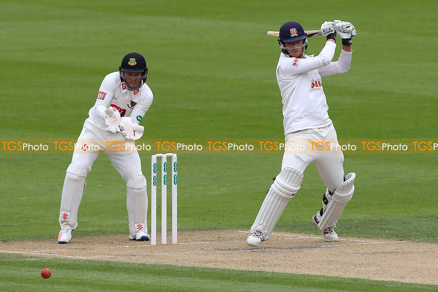 Tom Westley of Essex in batting action as Ben Brown looks on from behind the stumps during Sussex CCC vs Essex CCC, Specsavers County Championship Division 2 Cricket at The 1st Central County Ground on 18th April 2016