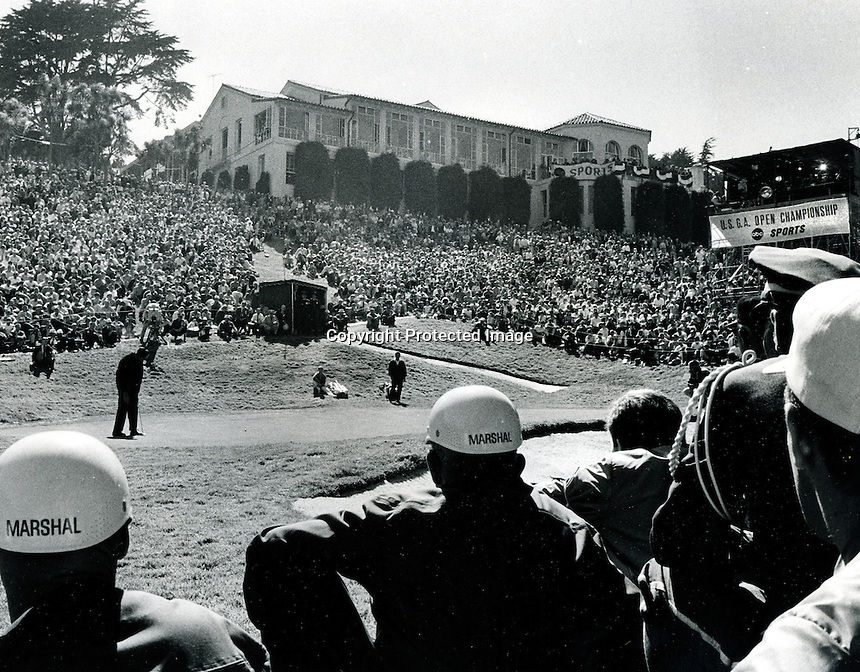 Crowd at the eighteenth hole at the Olympic Club in San  Francisco for the 1966 U.S. Open..(copyright 1966 Ron Riesterer)