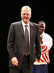 "Larry Bird & Kevin Daniels.during the Broadway Opening Night Performance Curtain Call for ""Magic / Bird"" at the Longacre Theatre in New York City on April 11, 2012"