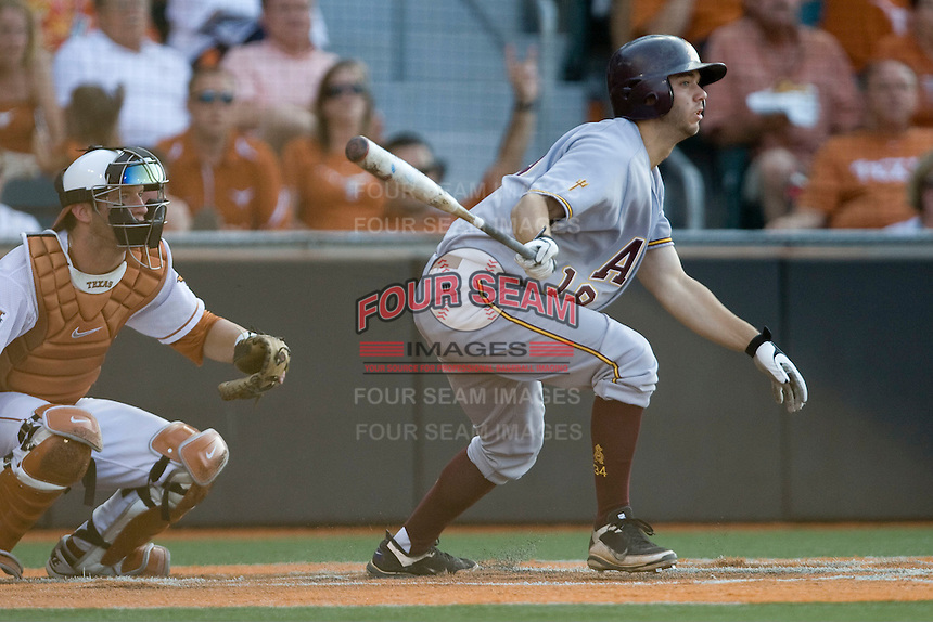 Arizona State Sun Devil designated hitter Joey DeMichele #18 at bat against the Texas Longhorns in NCAA Tournament Super Regional Game #3 on June 12, 2011 at Disch Falk Field in Austin, Texas. (Photo by Andrew Woolley / Four Seam Images)