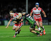 Matt Kvesic of Gloucester Rugby attempts to go around Sam Hill of Exeter Chiefs during the European Rugby Challenge Cup semi final match between Gloucester Rugby and Exeter Chiefs at Kingsholm Stadium on Saturday 18th April 2015 (Photo by Rob Munro)