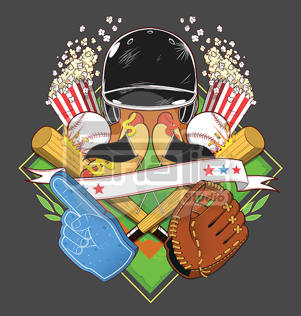 Illustrative image of popcorn and baseball equipment against gray background