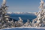 Lake Tahoe as viewed from Diamond Peak ski resort in Incline Village after a snow storm.