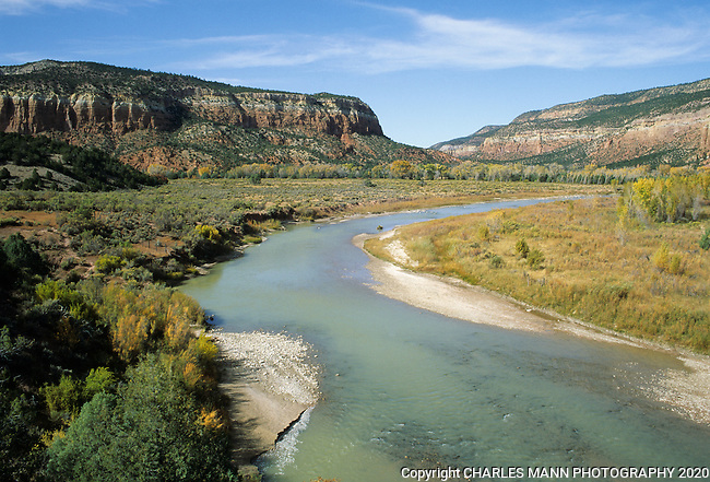 An idyllic view of the Chama River Wilderness Area near Abiquiu, NM in September.