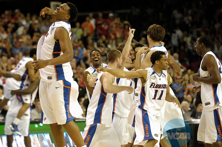 02 APR 2007: University of Florida players celebrate their championship repeat following the University of Florida vs Ohio State University championship game of the NCAA Men's Division I Basketball Final Four held at the Georgia Dome in Atlanta, GA. Florida defeated Ohio State 84-75 to win the national title. Peter Lockley/NCAA Photos