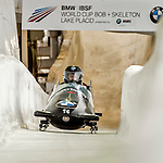 8 January 2016: Chris Spring, piloting his 2-man bobsled for Canada, enters the Chicane straightaway on his second run, ending the day with a combined 2-run time of 1:51.58 and earning a 12th place finish at the BMW IBSF World Cup Championships at the Olympic Sports Track in Lake Placid, New York, USA. Mandatory Credit: Ed Wolfstein Photo *** RAW (NEF) Image File Available ***