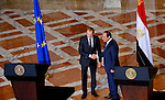 A handout picture made available by the Egyptian Presidency on September 19, 2015, shows Egyptian President Abdel Fattah al-Sisi shakes hand with EU President Donald Tusk during a joint press conference in the capital Cairo. Photo by Egyptian President Office