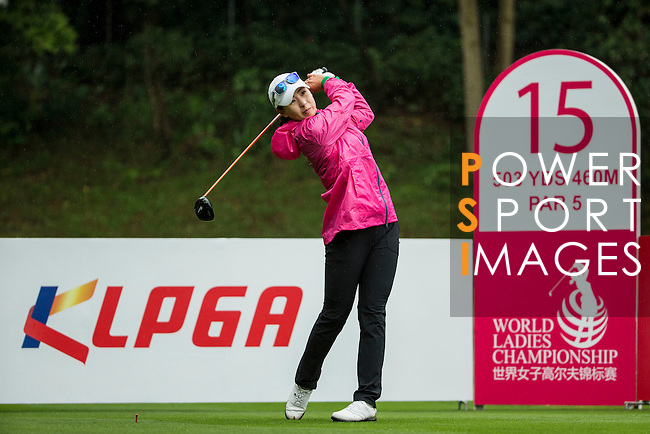 Hey Jung CHOI of South Korea tees off at the 15th hole during Round 1 of the World Ladies Championship 2016 on 10 March 2016 at Mission Hills Olazabal Golf Course in Dongguan, China. Photo by Victor Fraile / Power Sport Images