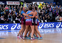 Steel players celebrate at the final whistle of the ANZ Premiership netball grand final between the Central Pulse and Southern Steel at Arena Manawatu in Palmerston North, New Zealand on Sunday, 12 August 2018. Photo: Dave Lintott / lintottphoto.co.nz